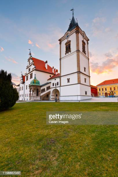 old town hall in the main square of medieval town of levoca, slovakia. - traditionally slovak stock pictures, royalty-free photos & images