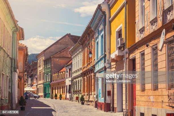 old town in brasov - transylvania stock pictures, royalty-free photos & images