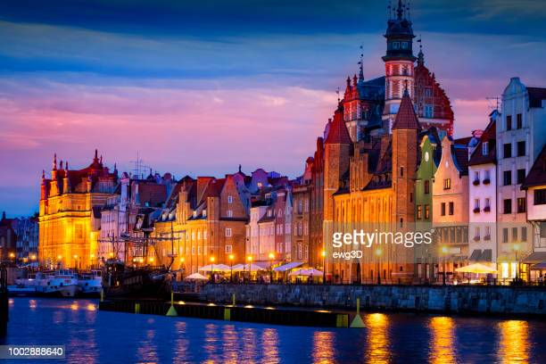 old town in gdansk by night, poland - gdansk stock pictures, royalty-free photos & images
