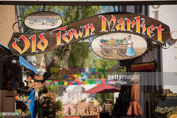 old town market sign - old town san diego stock pictures, royalty-free photos & images