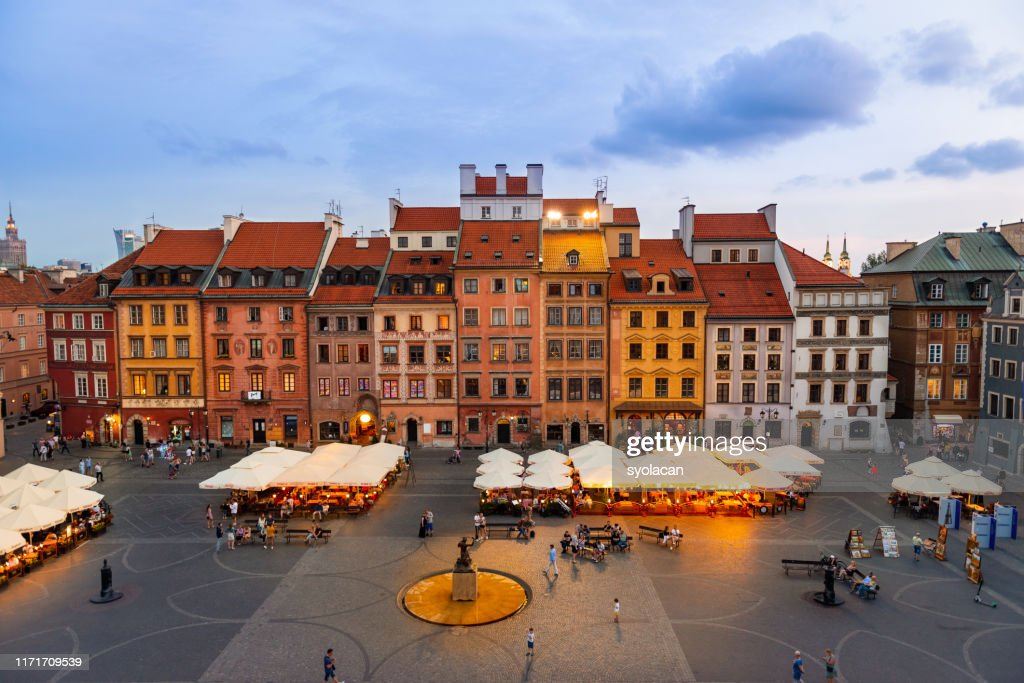 Old town market square of Warsaw at dusk : Stock Photo