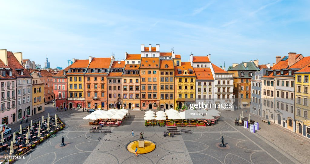 Old town market square of Warsaw : Stock Photo