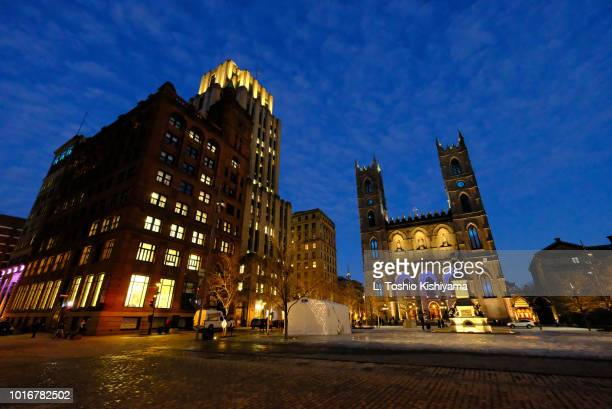 old town montreal, canada. - notre dame de montreal stock photos and pictures