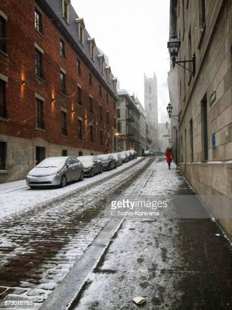 old town montreal, canada - notre dame de montreal stock photos and pictures