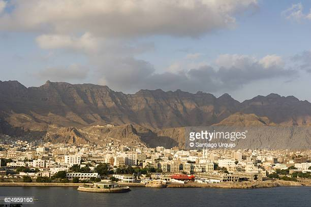 old town of aden with mountains on background - yemen stock pictures, royalty-free photos & images