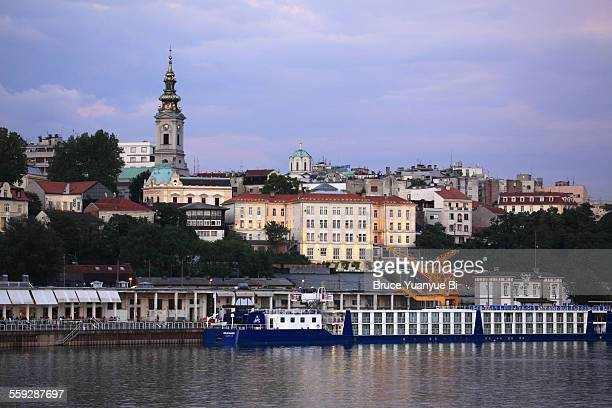 Old Town of Belgrade with Sava River at dusk