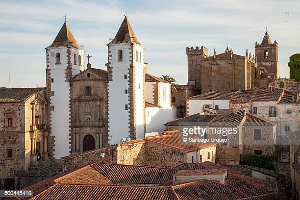 Old town of Caceres with the San Francisco Javier church on the background