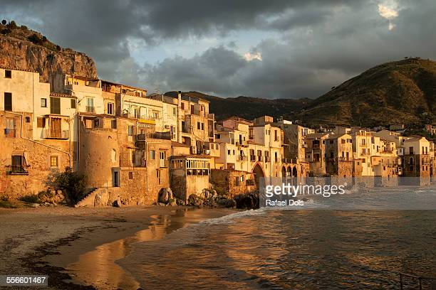 old town of cefalu at sunset - palermo sicily stock photos and pictures