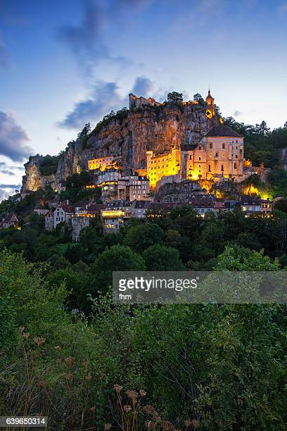 old town of rocamadur at sunset - famous historic city in southwest france (lot) - rocamadour stock pictures, royalty-free photos & images