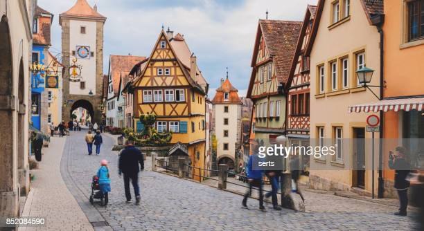 old town of rothenburg ob der tauber, germany - rothenburg stock photos and pictures