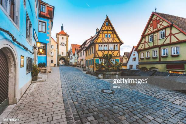 old town of rothenburg ob der tauber, germany - town stock pictures, royalty-free photos & images