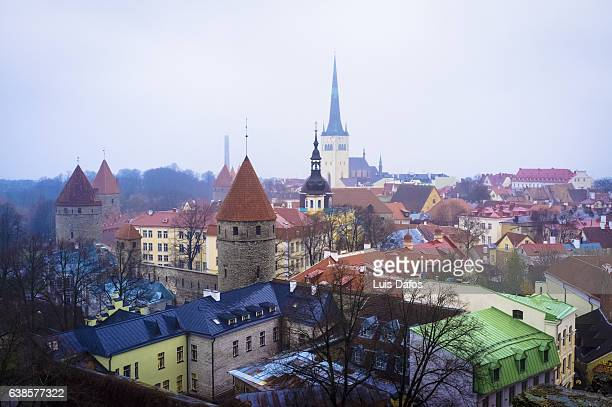 Old town of Tallinn overview on a foggy day