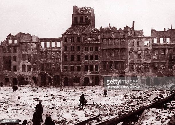 Old town of Warsaw Poland in World War Two 1945