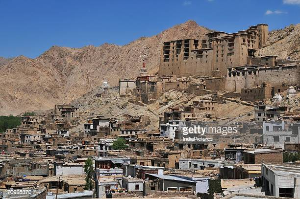 Old town on top of a hill in Leh Ladakh Jammu and Kashmir India