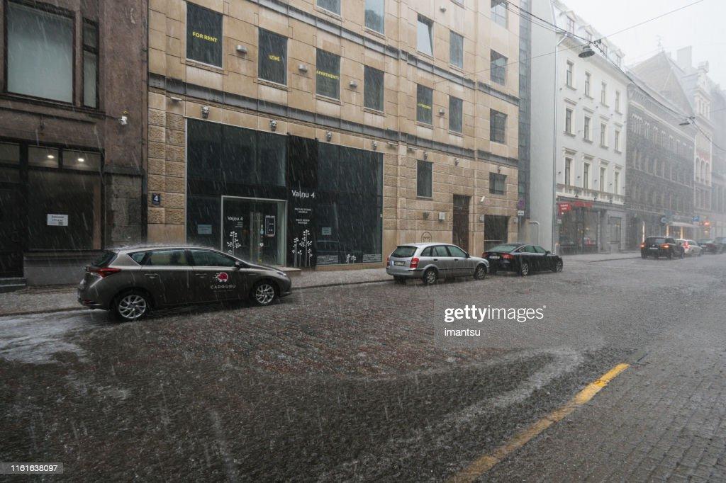 Old Town Riga during rain : Stock Photo