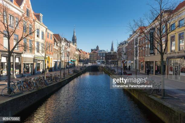 Old town romantic scene of along canal in Delft, Netherlands
