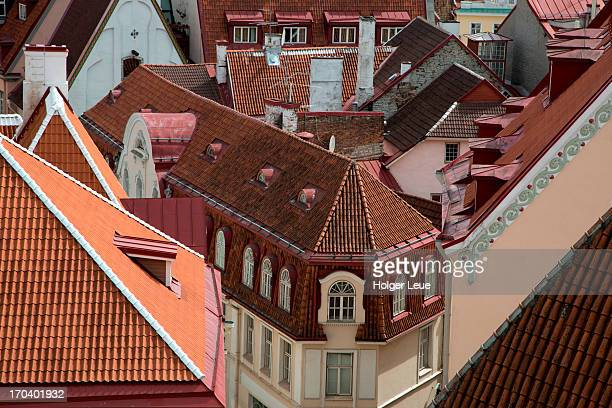old town rooftops seen from toompea hill - harjumaa stock pictures, royalty-free photos & images