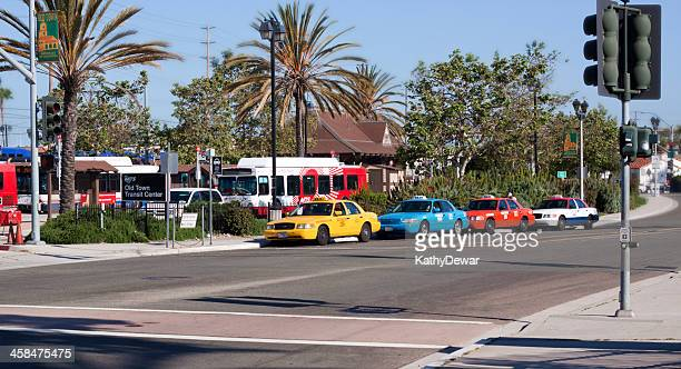 old town san diego trolley and taxis - old town san diego stock pictures, royalty-free photos & images