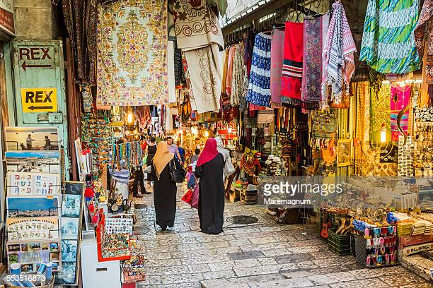 old town, shops in david street (el bazar) - bazaar stockfoto's en -beelden