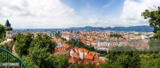 old town skyline and mur river, graz, styria, austria - graz stock photos and pictures