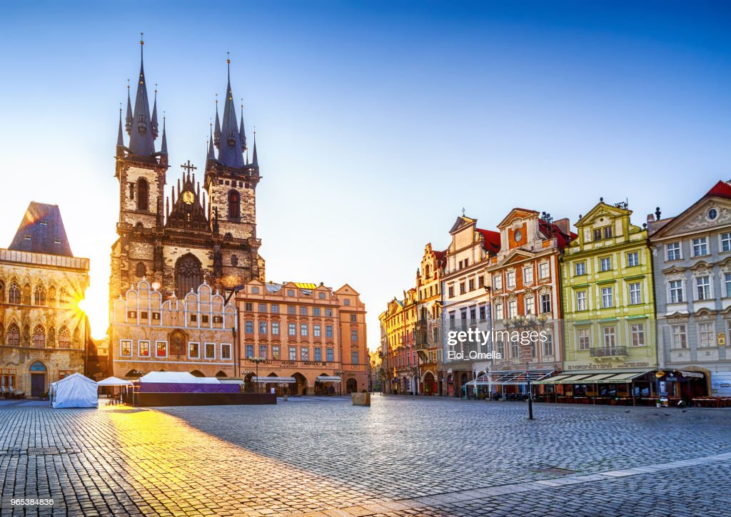 Old Town Square and Church of Our Lady before Týn in Prague at sunrise. Czech Republic : Stock Photo