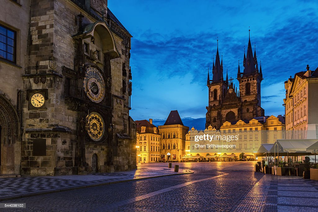 Old Town Square and Tyn Church , Prague, Czech Republic : ストックフォト