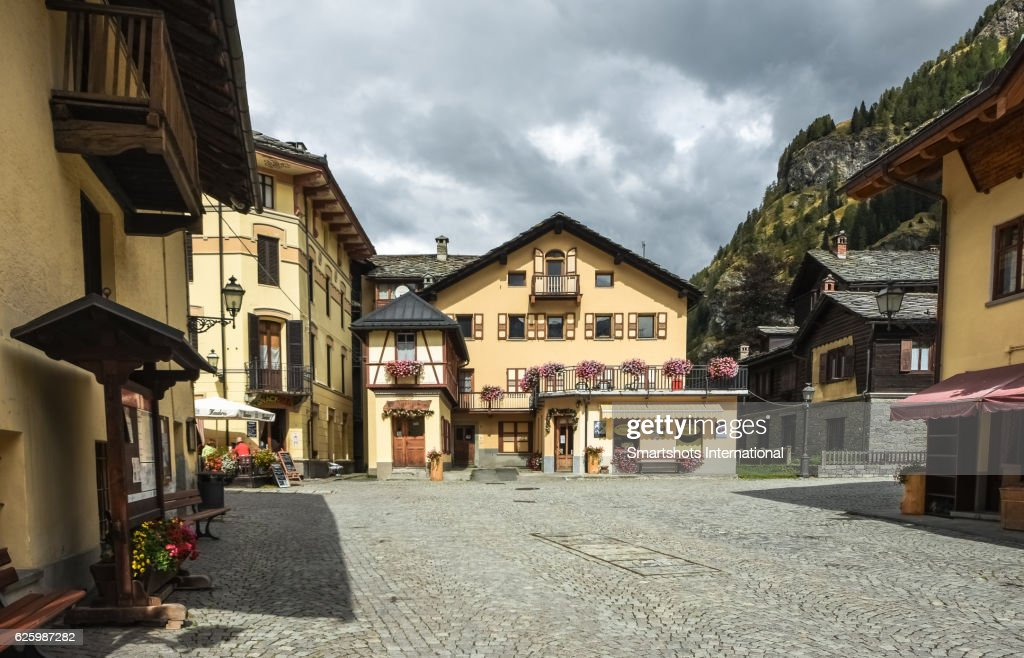 Old town square of Gressoney Saint Jean in Valle d'Aosta, Italy : Stock Photo