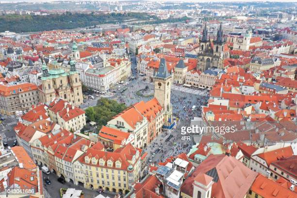 old town square, prag - vltava river stock photos and pictures