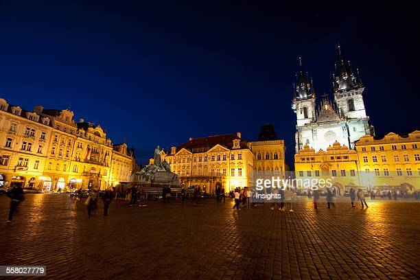 Old Town Square With The Church Of Our Lady Before Tyn At Night Prague Czech Republic