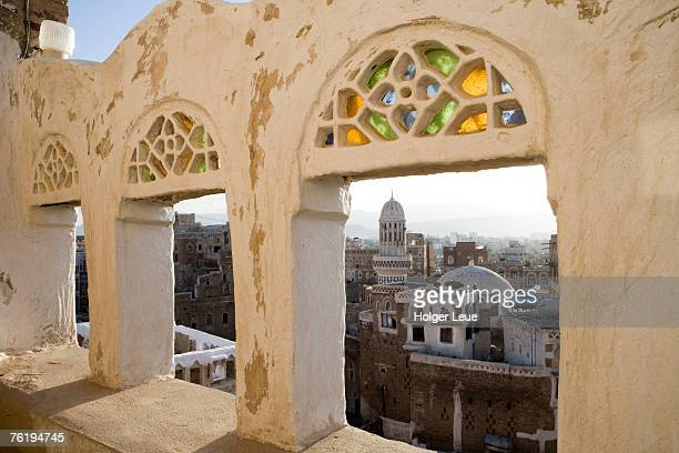 old town through window, san'a, yemen, middle east - sanaa stock pictures, royalty-free photos & images