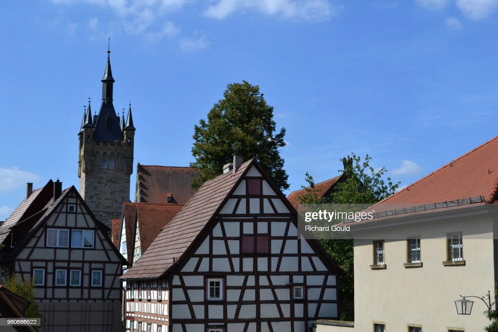 Old town with half-timbered houses and tower, Bad Wimpfen, Heilbronn, Germany : Stock Photo