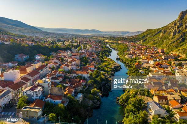 old town with river, mostar, bosnia and herzegovina - bosnia and hercegovina stock pictures, royalty-free photos & images