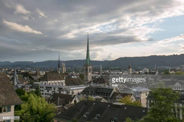 Old Town Zurich aerial view