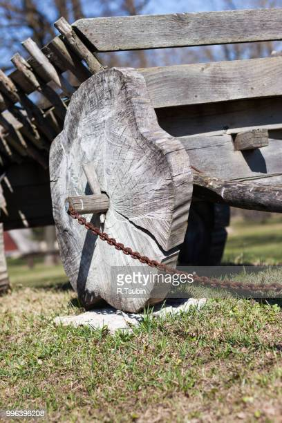 Old traditional cart wooden wheel