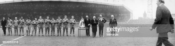 Old Trafford goes wild in a salute to the champions and the man in the centre of it all is manager Matt Busby His players and top football league...