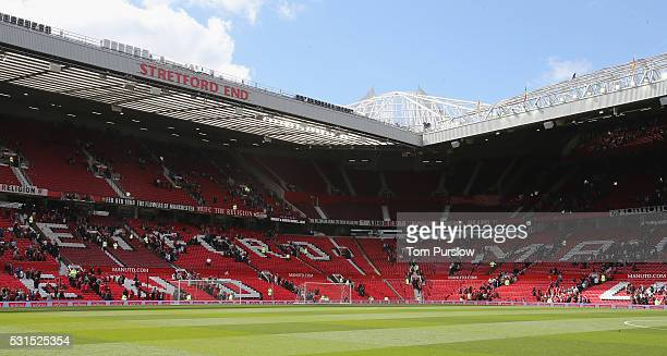 Old Trafford is evacuated ahead of the Barclays Premier League match between Manchester United and AFC Bournemouth at Old Trafford on May 15 2016 in...