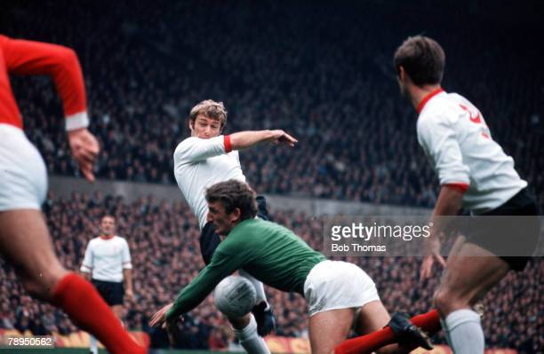 Old Trafford Manchester Liverpool's Roger Hunt has his shot saved by Manchester United goalkeeper Alex Stepney