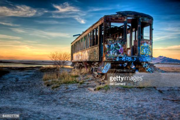 old train car - great salt lake stock pictures, royalty-free photos & images