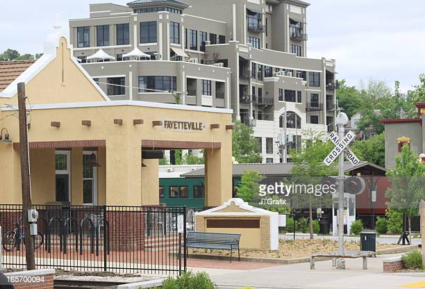 old train station, fayetteville, arkansas - arkansas stock photos and pictures