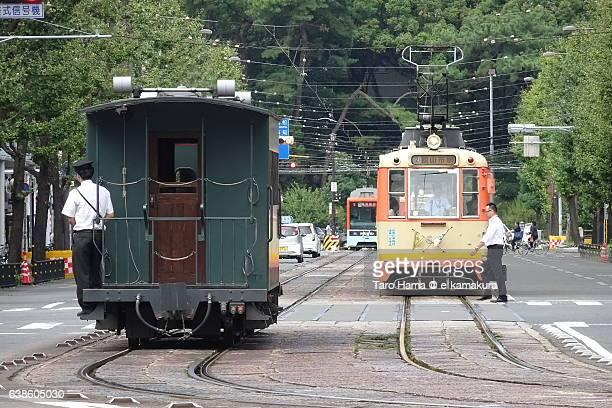 Old trains running in Matsuyama city