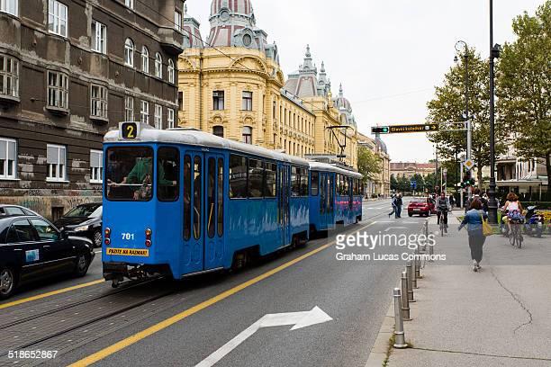 Old trams on Antuna Mihanovica, Zagreb.