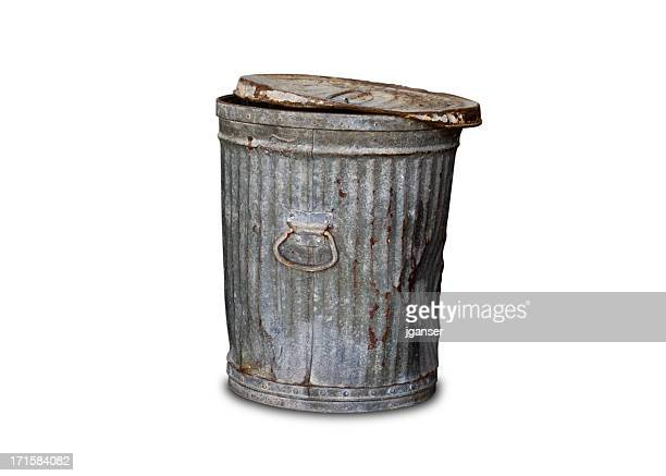 old trashcan - clipping path - garbage can stock photos and pictures