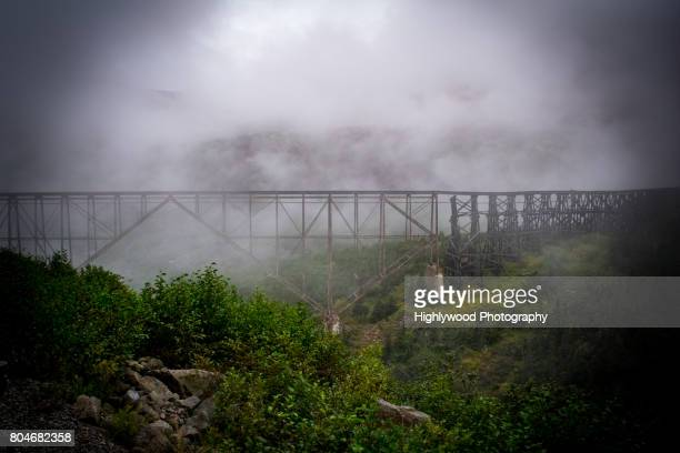 old trestle in the fog - highlywood stock pictures, royalty-free photos & images