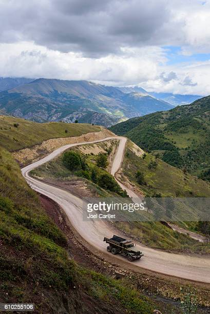 old truck ascending to sotk pass in nagorno-karabakh - azerbaijan stock pictures, royalty-free photos & images