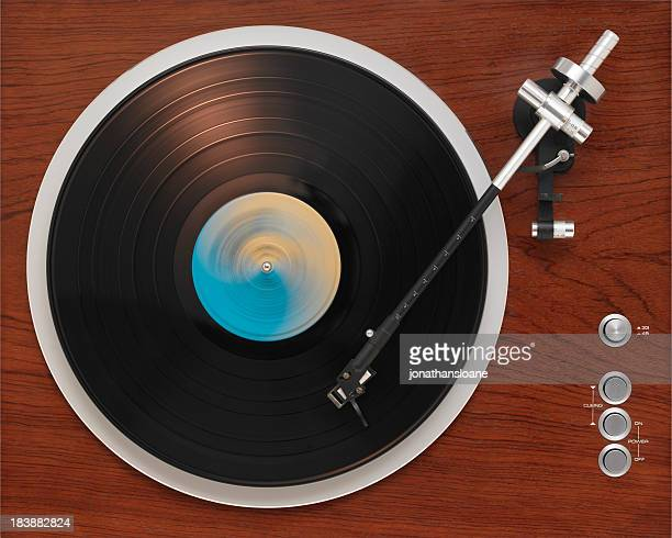 old turntable playing record - deck stock pictures, royalty-free photos & images