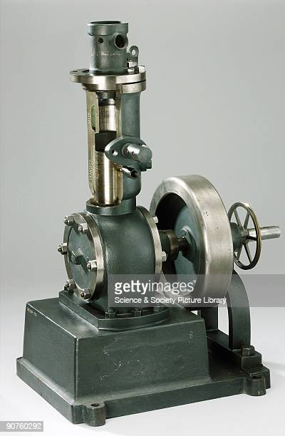 Old type Day internal combustion two-stroke valveless motor, 1 hp nominal, partially sectioned through cylinder. Made by the Day Motor Co Ltd.