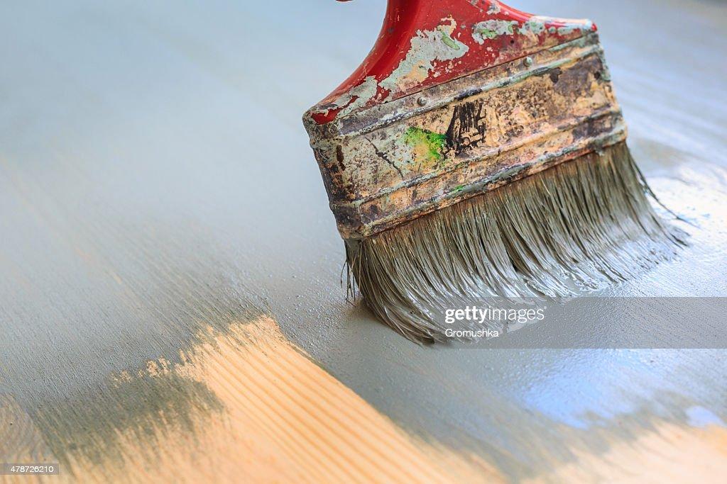 Alte Verwendet Paint Brush Painting Holz Hintergrund Gemalt Die