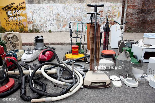old vacuums at a sunday street market, montevideo, uruguay - spare part stock pictures, royalty-free photos & images