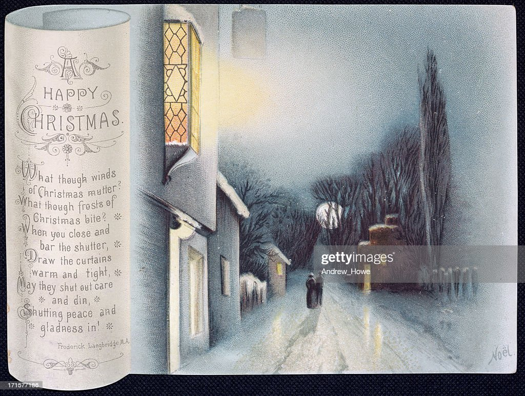 Old Victorian Christmas Card Street Scene With Verse Stock