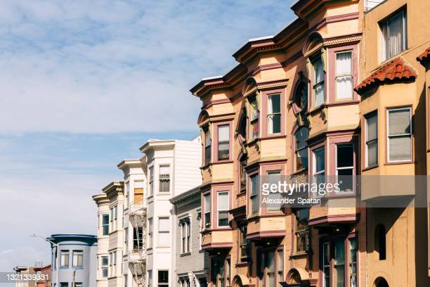 old victorian houses in san francisco, california, usa - north beach san francisco stock pictures, royalty-free photos & images